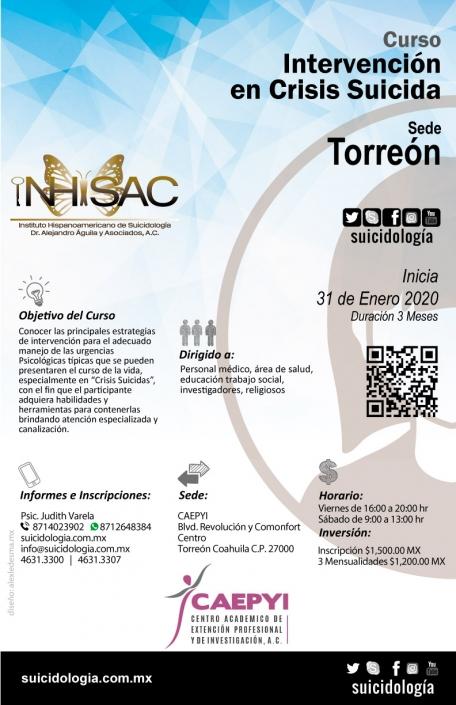 Curso de intervención en crisis suicida sede Torreón